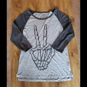 Graphic Baseball Tee - Gray